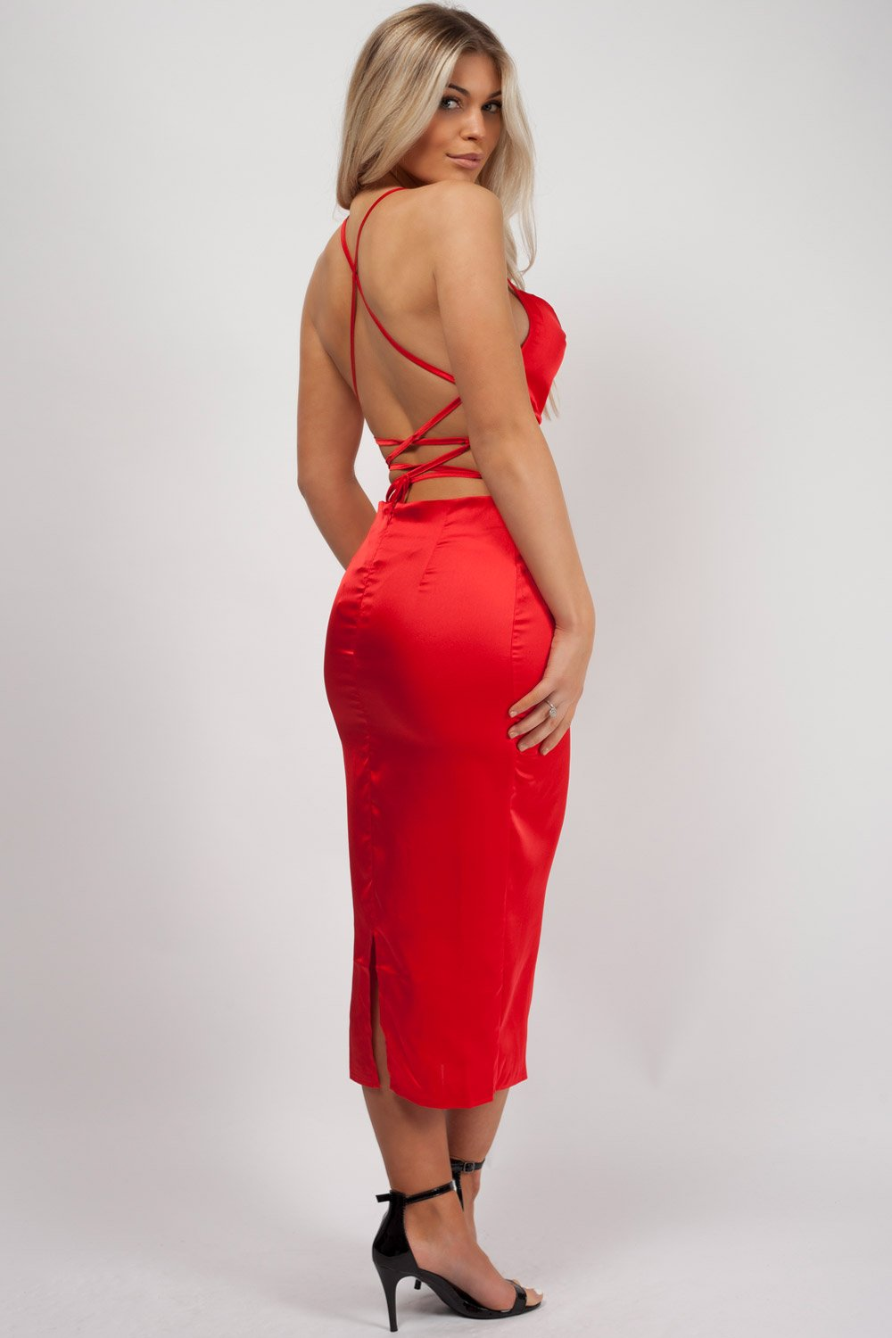 red midi dress styledup fashion