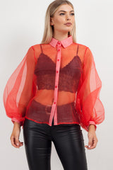 puff sleeve sheer shirt red