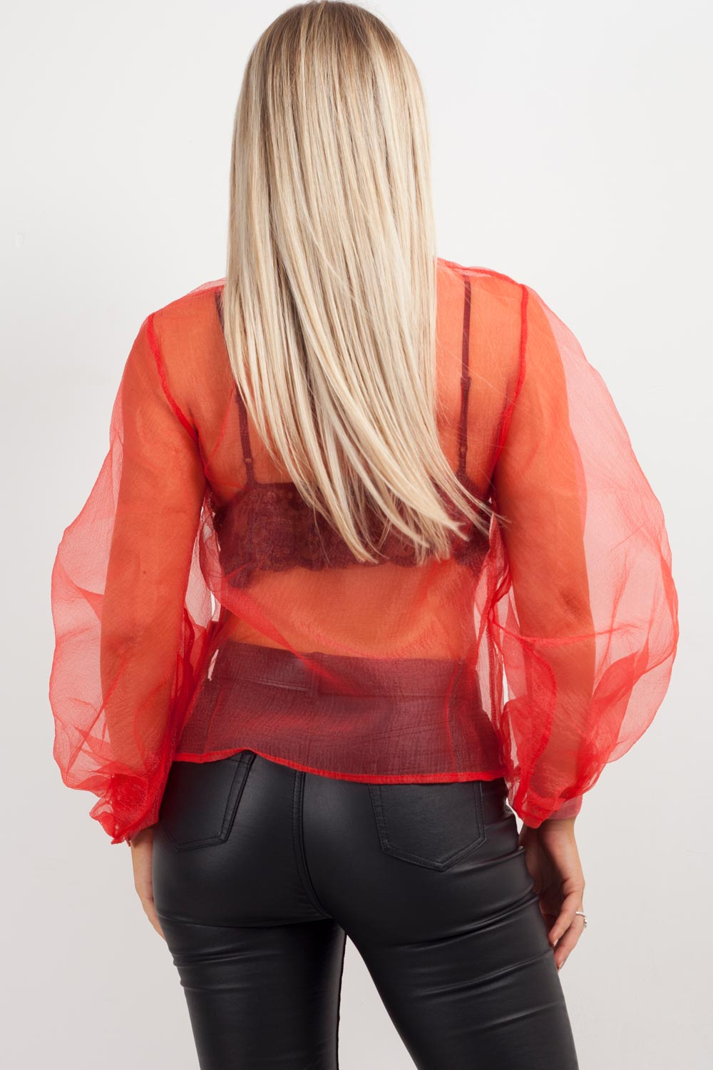 red sheer shirt womens uk