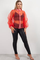 red sheer long sleeve shirt womens