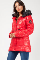 red padded caot womens