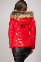 red puffer jacket women's