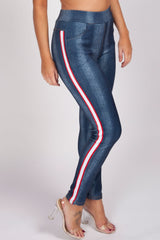 womens red white side stripe trousers