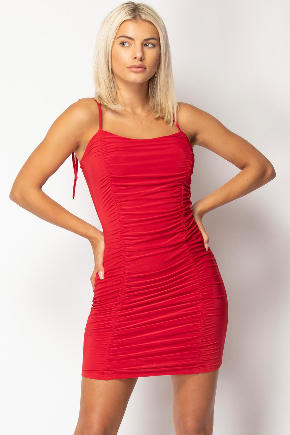 strappy ruched front bodycon mini dress