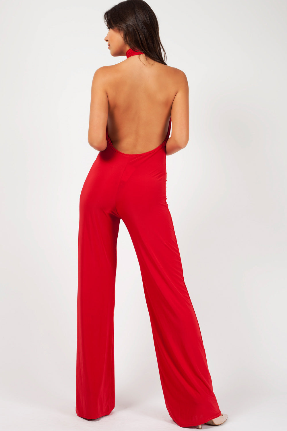 wide leg jumpsuit red
