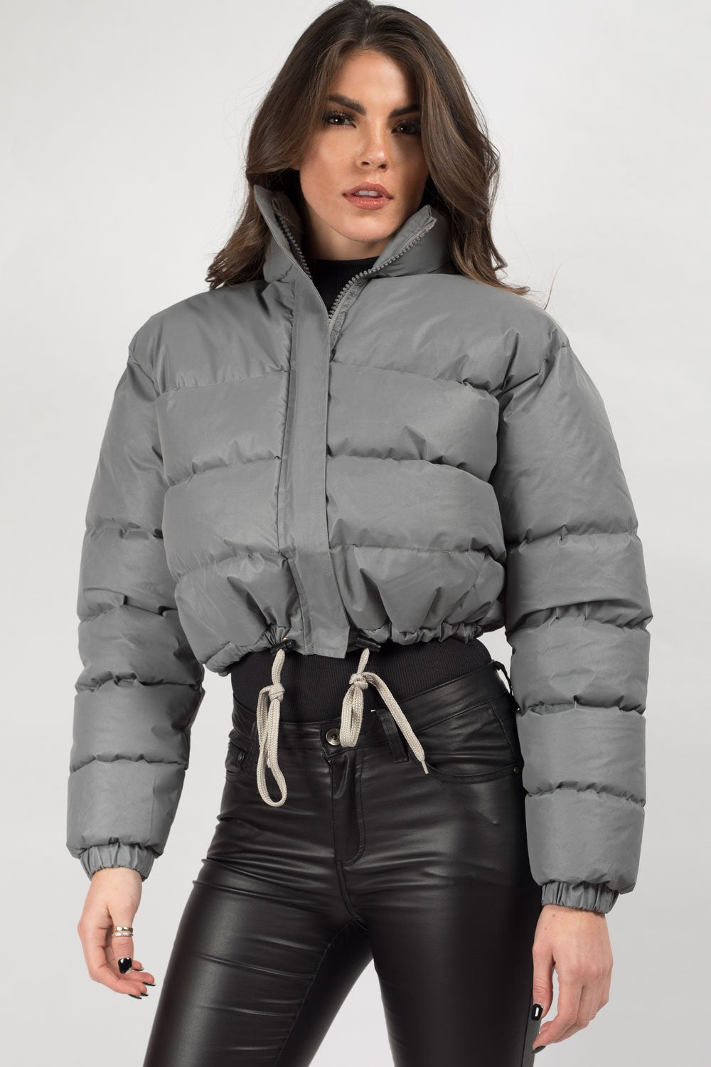 grey reflective puffer jacket womens