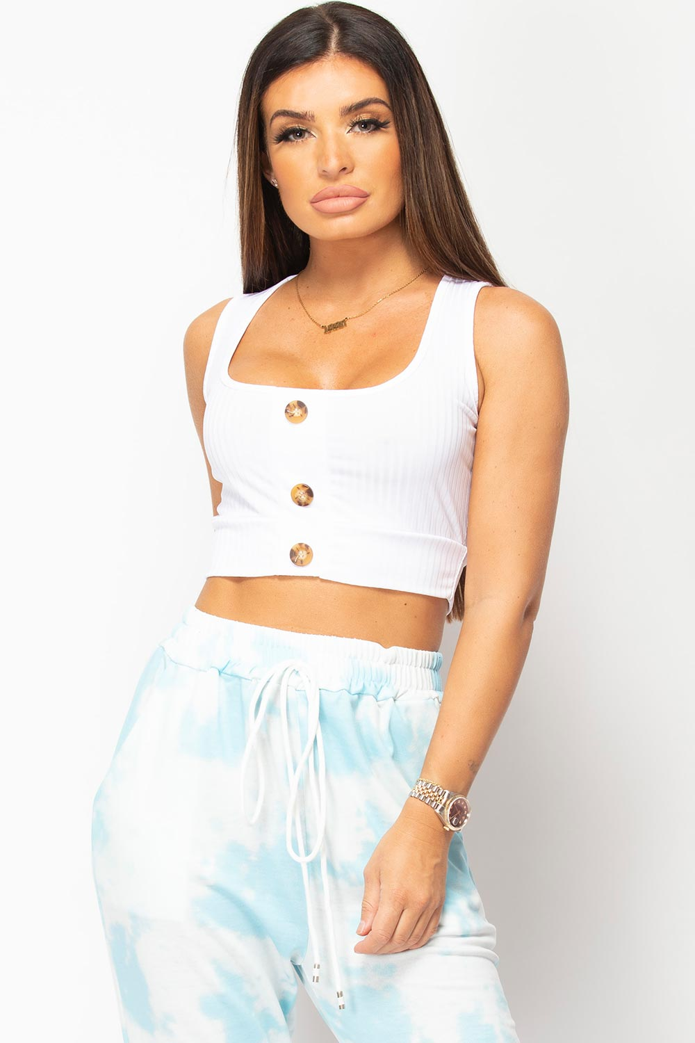 button front rib crop top