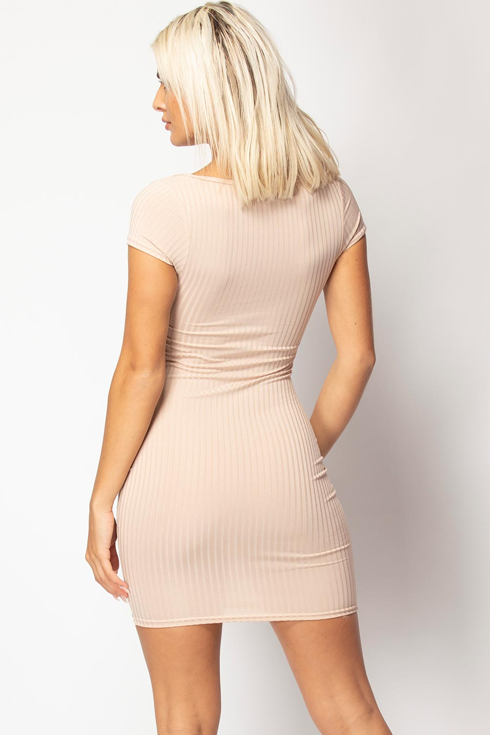 bodycon ribbed mini dress stone