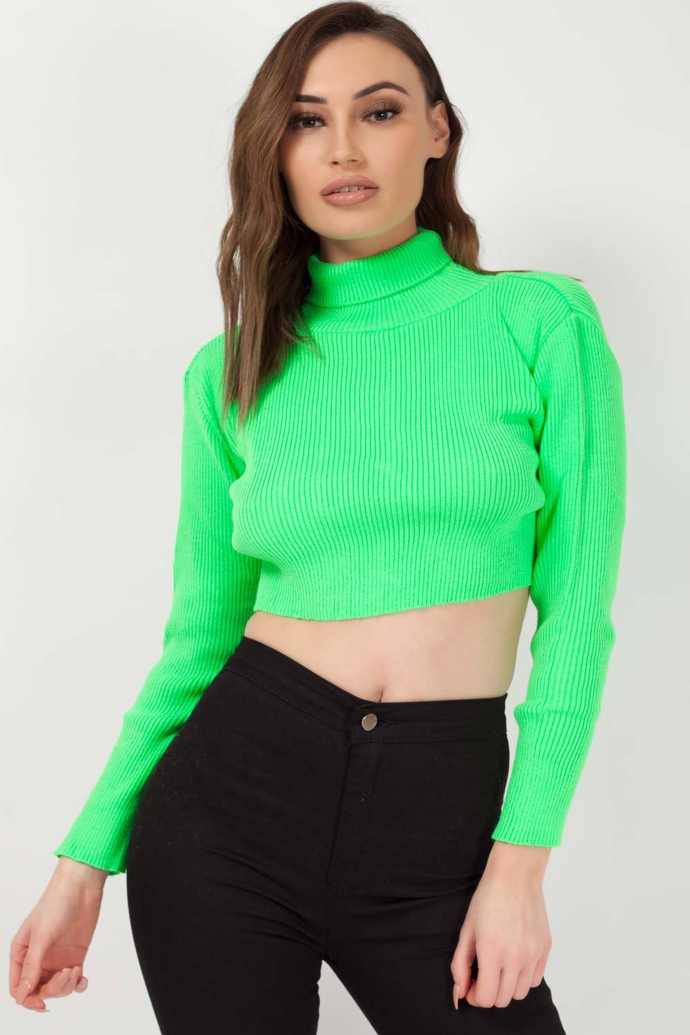 cropped jumper neon green