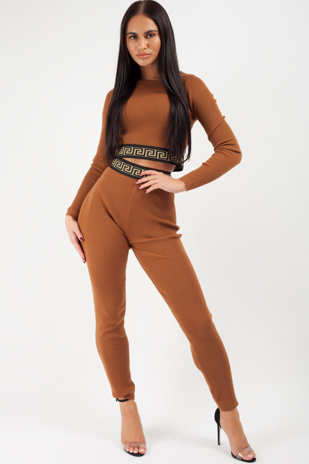 ribbed loungewear set brown