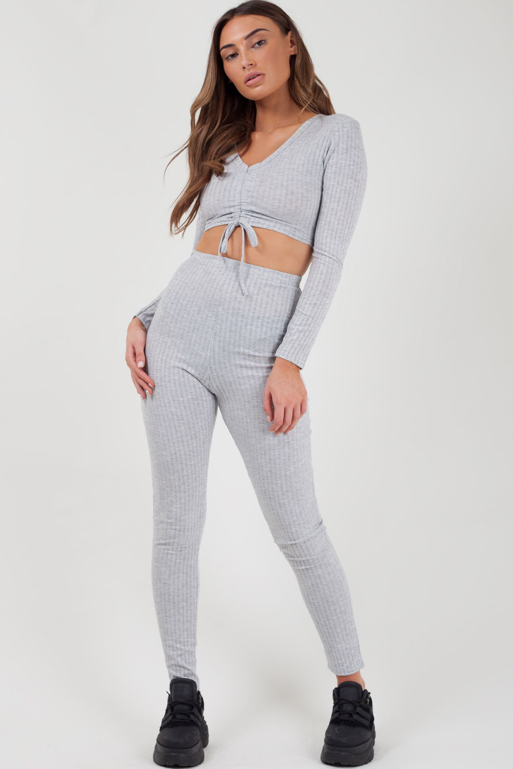 grey ribbed loungewear two piece set on sale uk