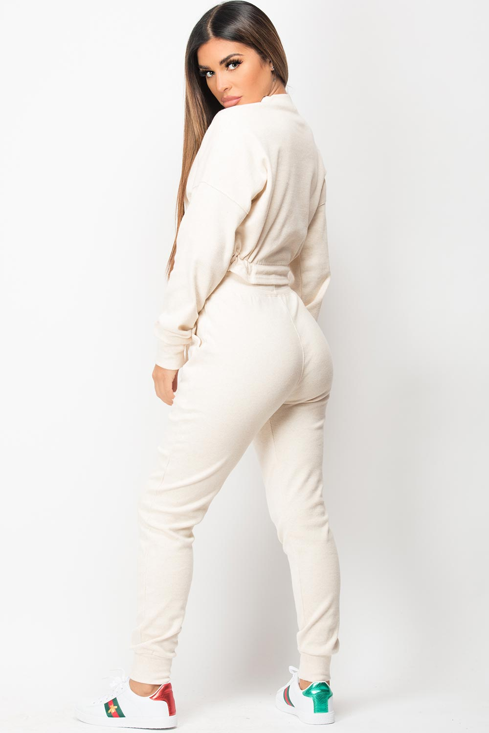 drawstring waist ribbed loungewear set
