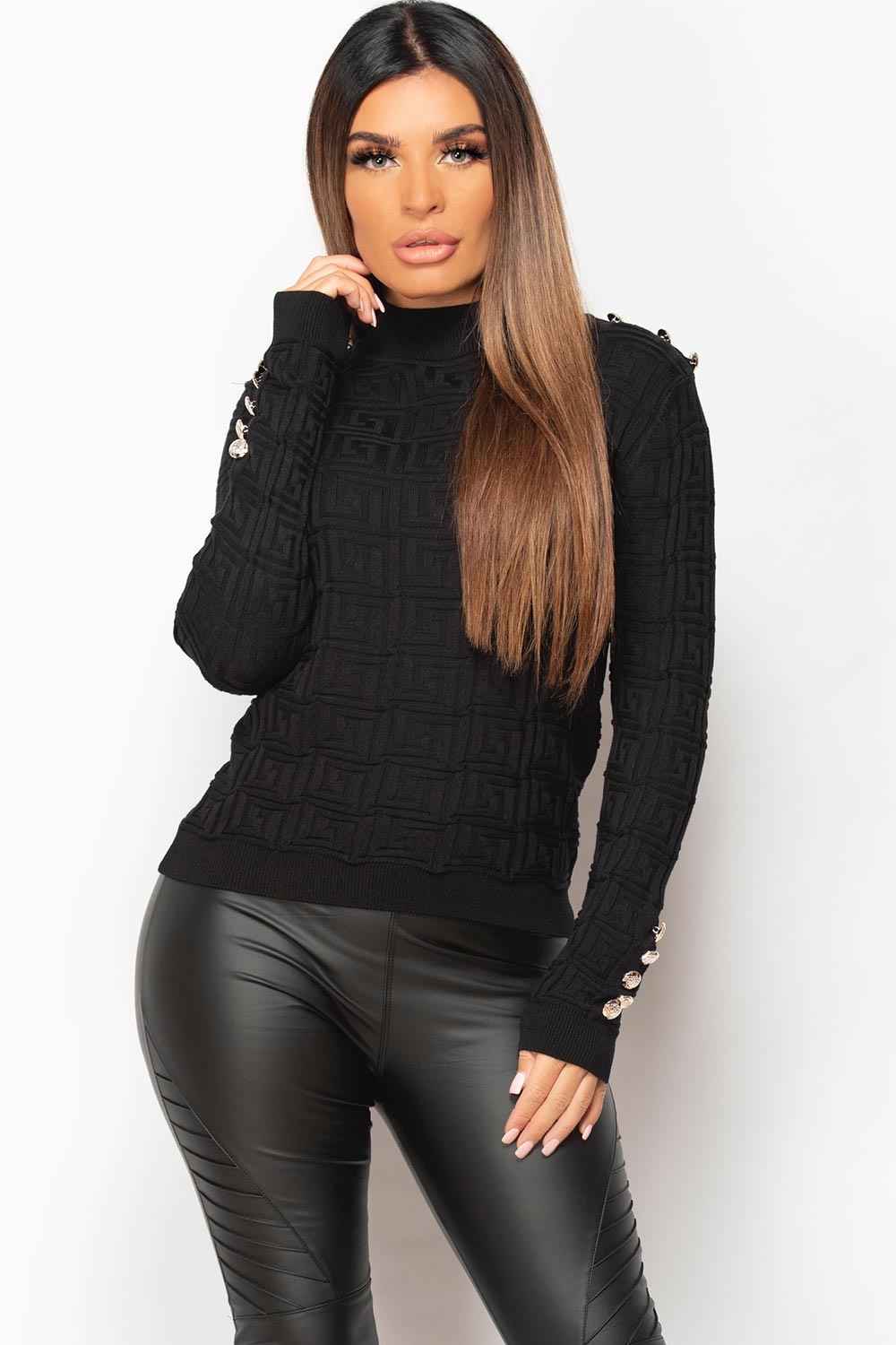 black dressy jumper with gold button detail
