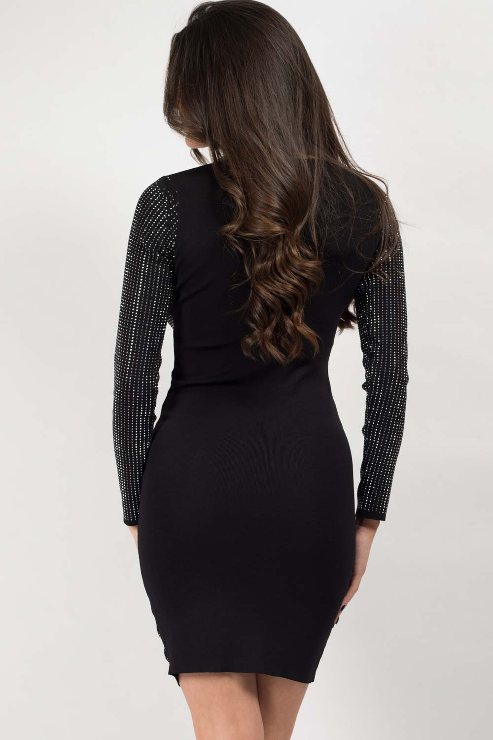 long sleeve black sequin dress