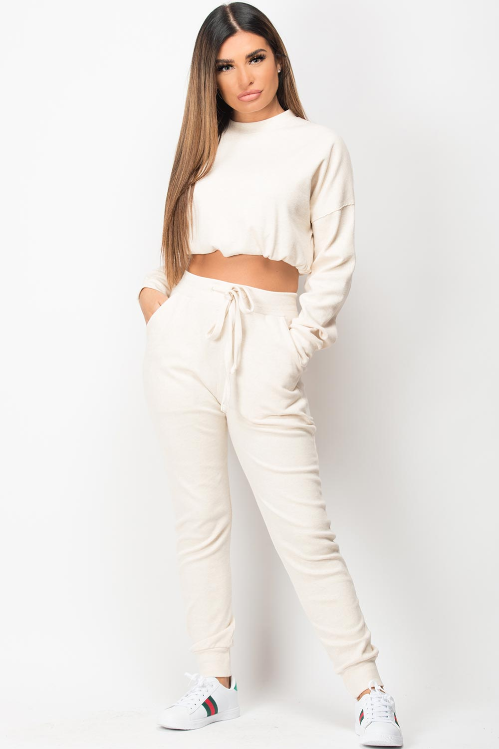 ribbed top and joggers loungewear set