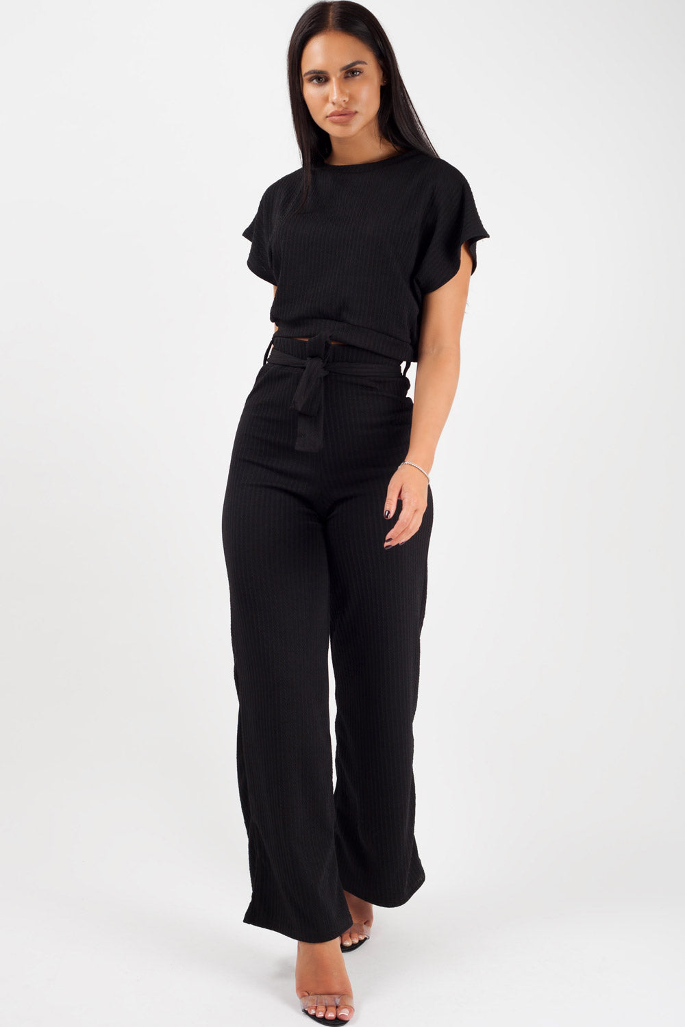 wide leg loungewear co ord set balck