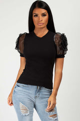 black rose shoulder top