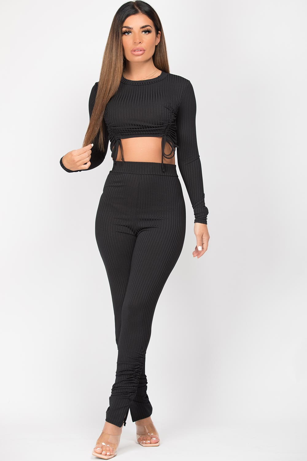 black ruched front ribbed loungewear set
