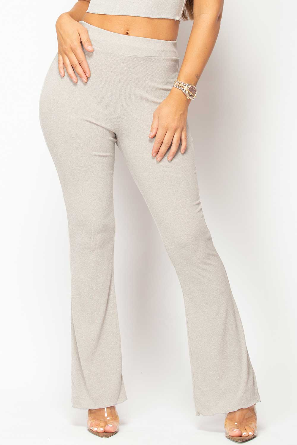 grey ribbed wide leg trousers