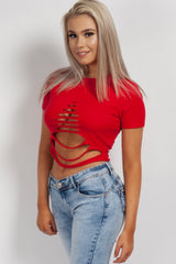 front ripped crop top red