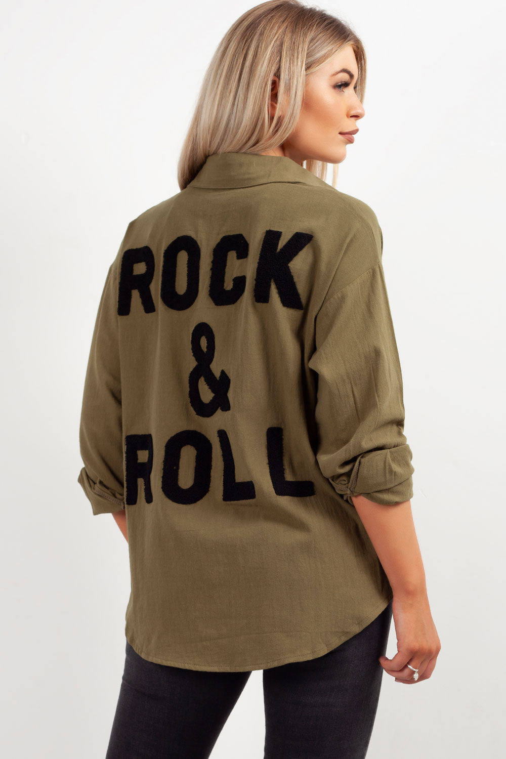 womens oversized rock & roll slogan shirt khaki