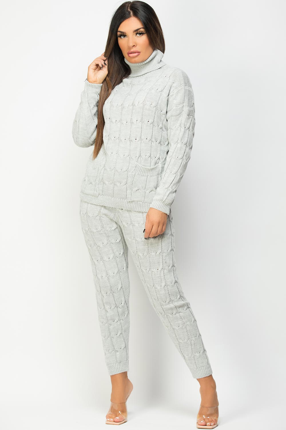 knitted lounge set grey womens