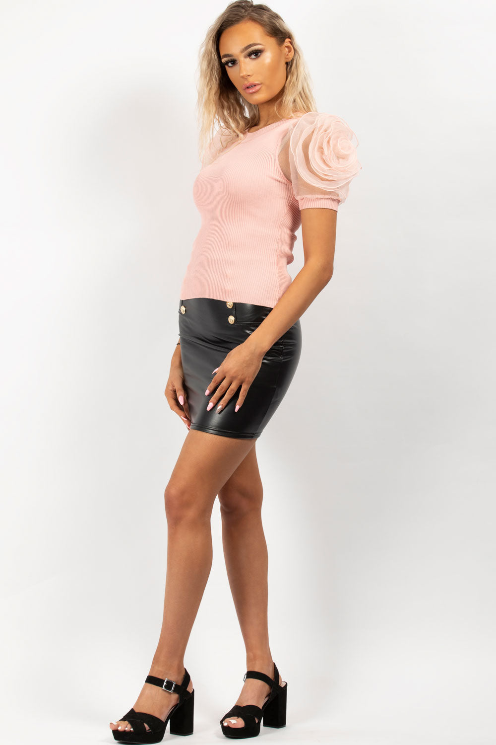 pink rose detail ribbed top