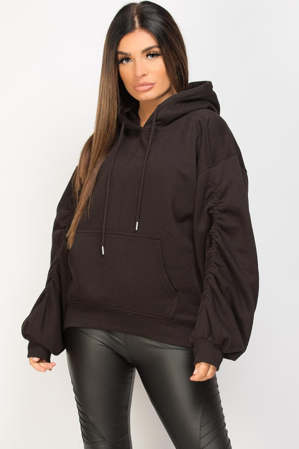 black oversized hoodie with ruched arms