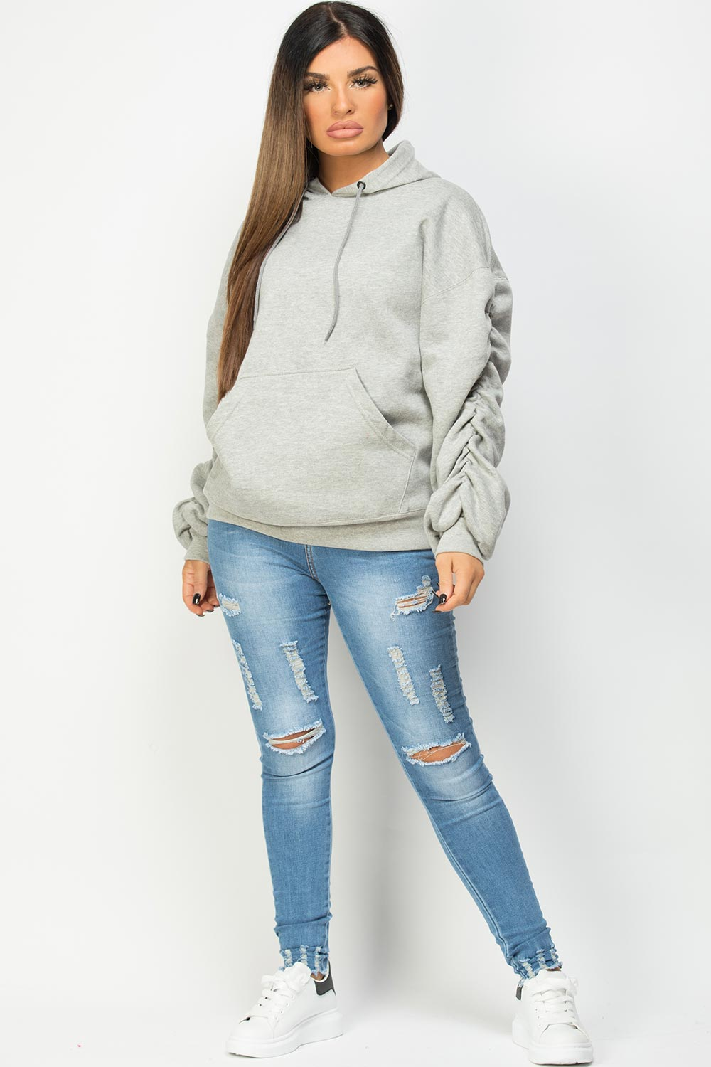 ruched sleeve oversized hoodie