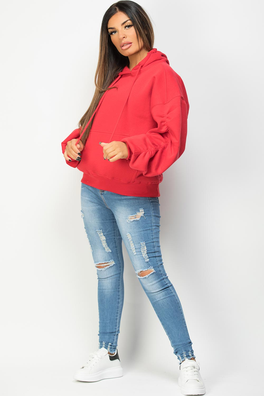 red oversized hoodie with balloon sleeves