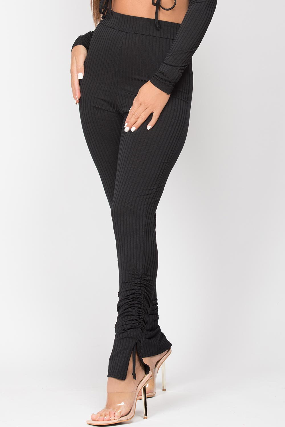 black ruched bottom loungewear set
