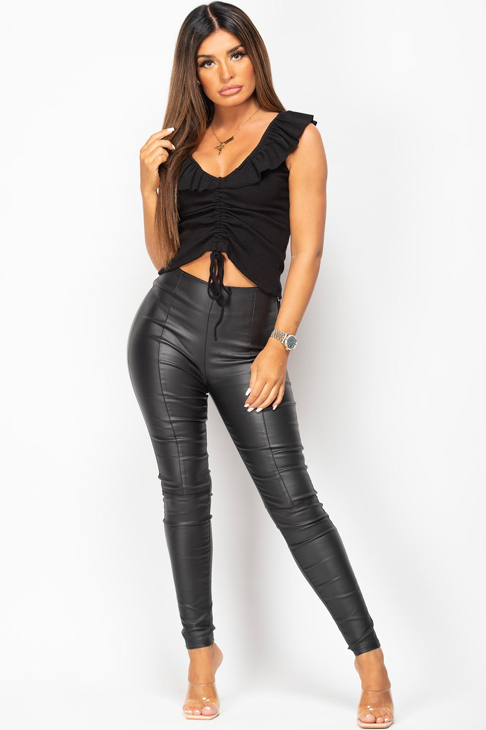black ruched front ribbed top