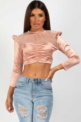 ruched front satin crop top pink