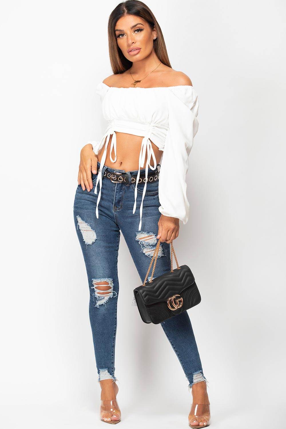 long sleeve ruched tie front top