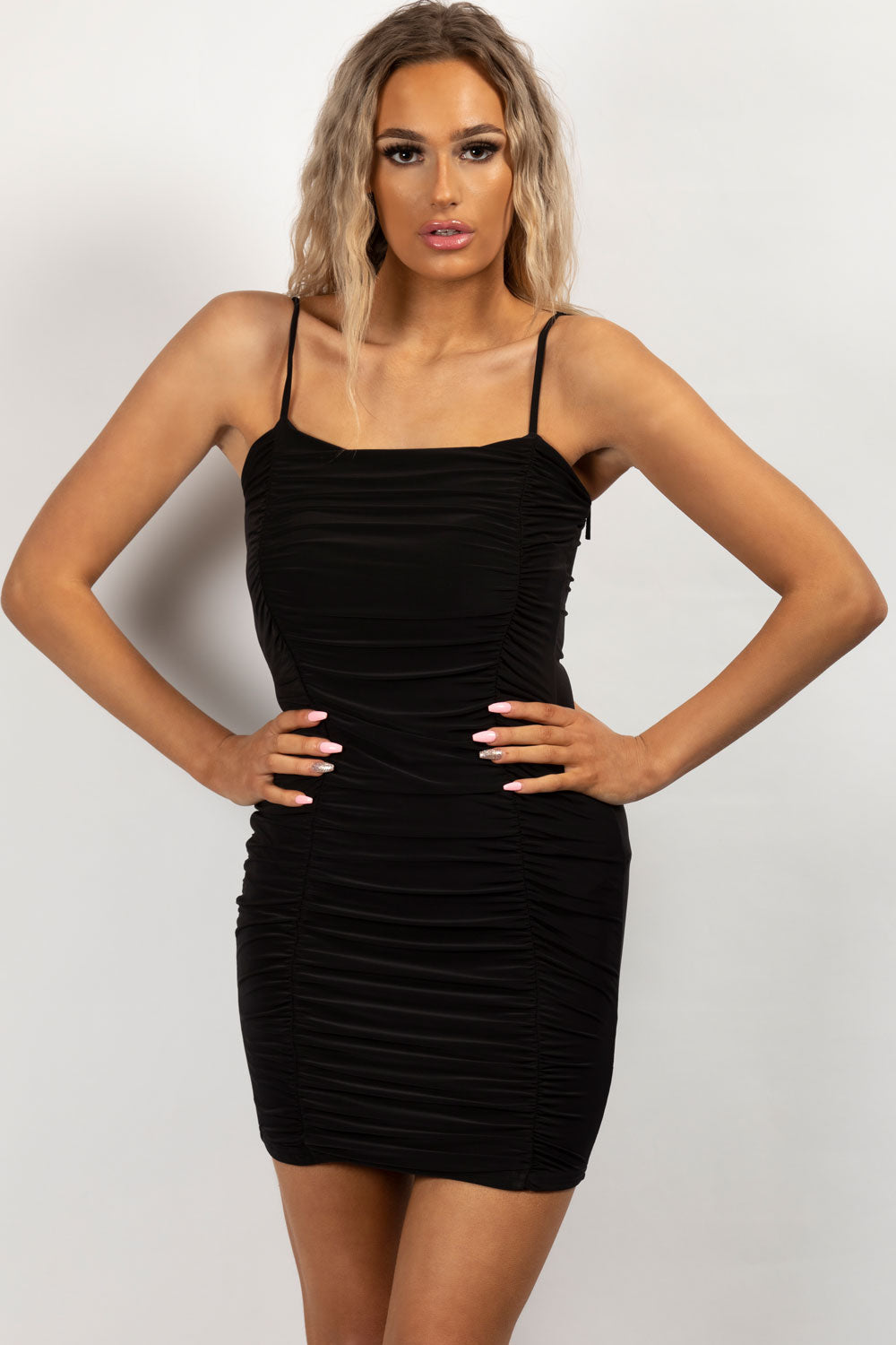 ruched bodycon dress black