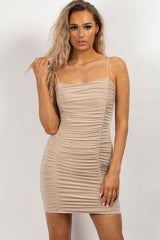 ruched front bodycon dress nude