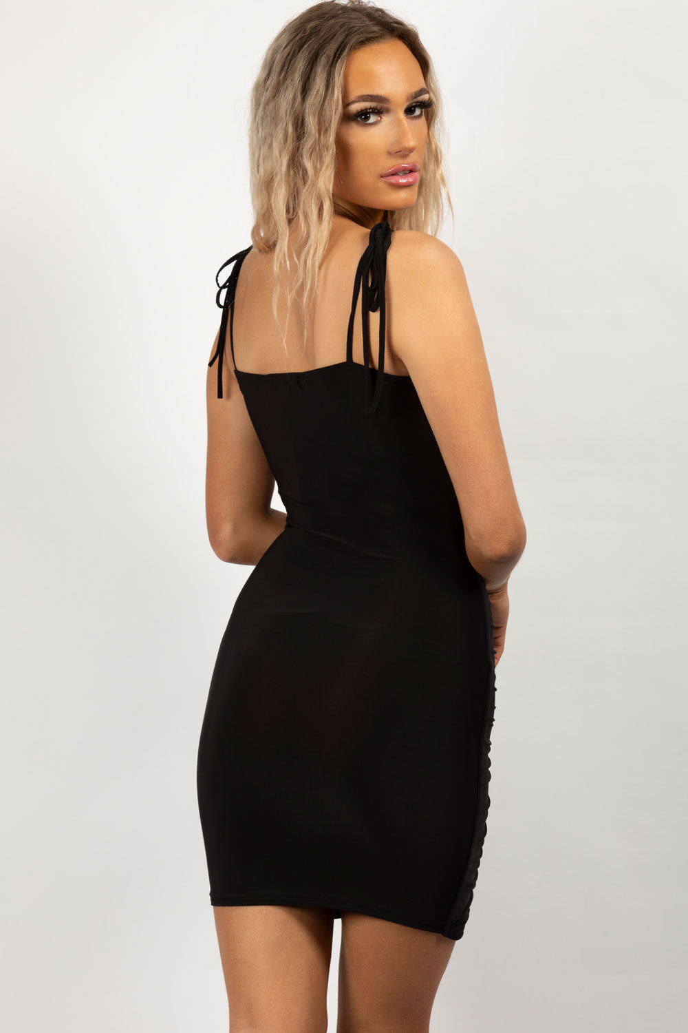 oh polly ruched black dress
