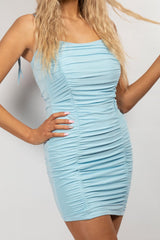ruched bodycon dress sky blue