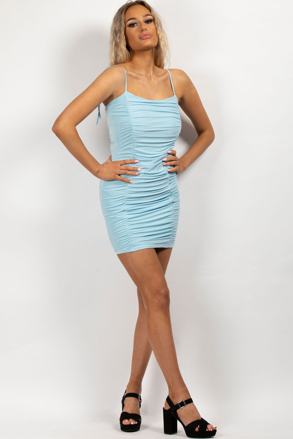 ruched strappy bodycon dress sky blue
