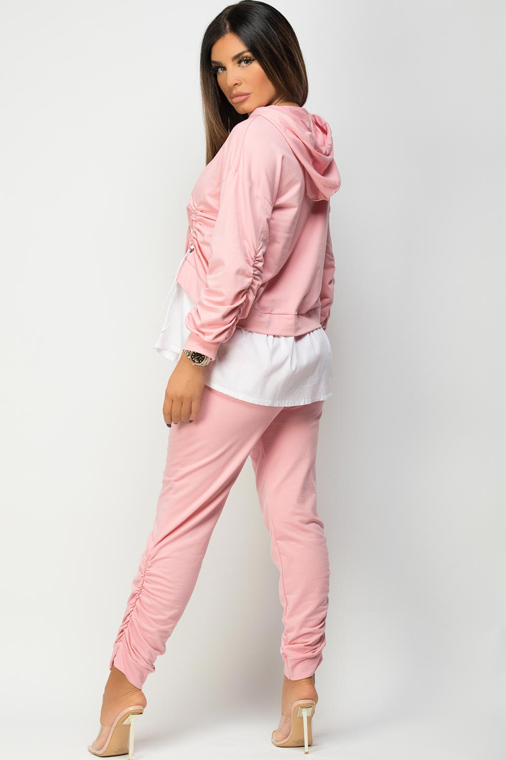 ruched front loungewear set pink