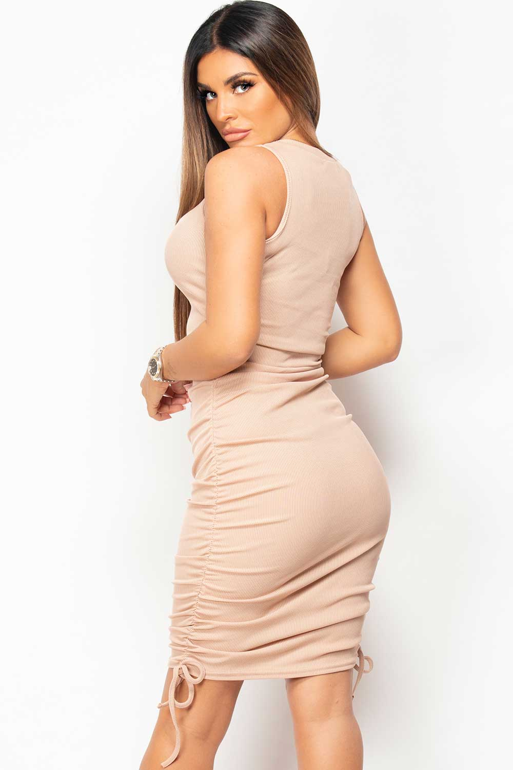 ruched ribbed bodycon mini dress