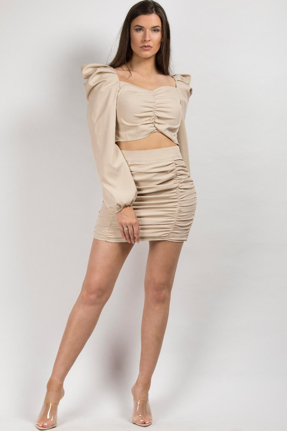 ruched mini skirt and crop top set
