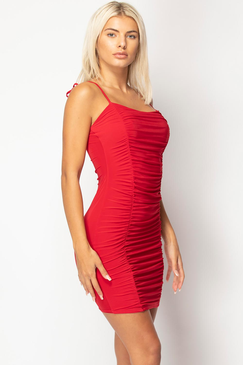 red ruched bodycon mini dress