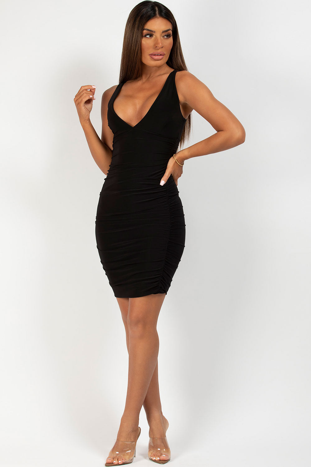 black ruched side mini bodycon dress