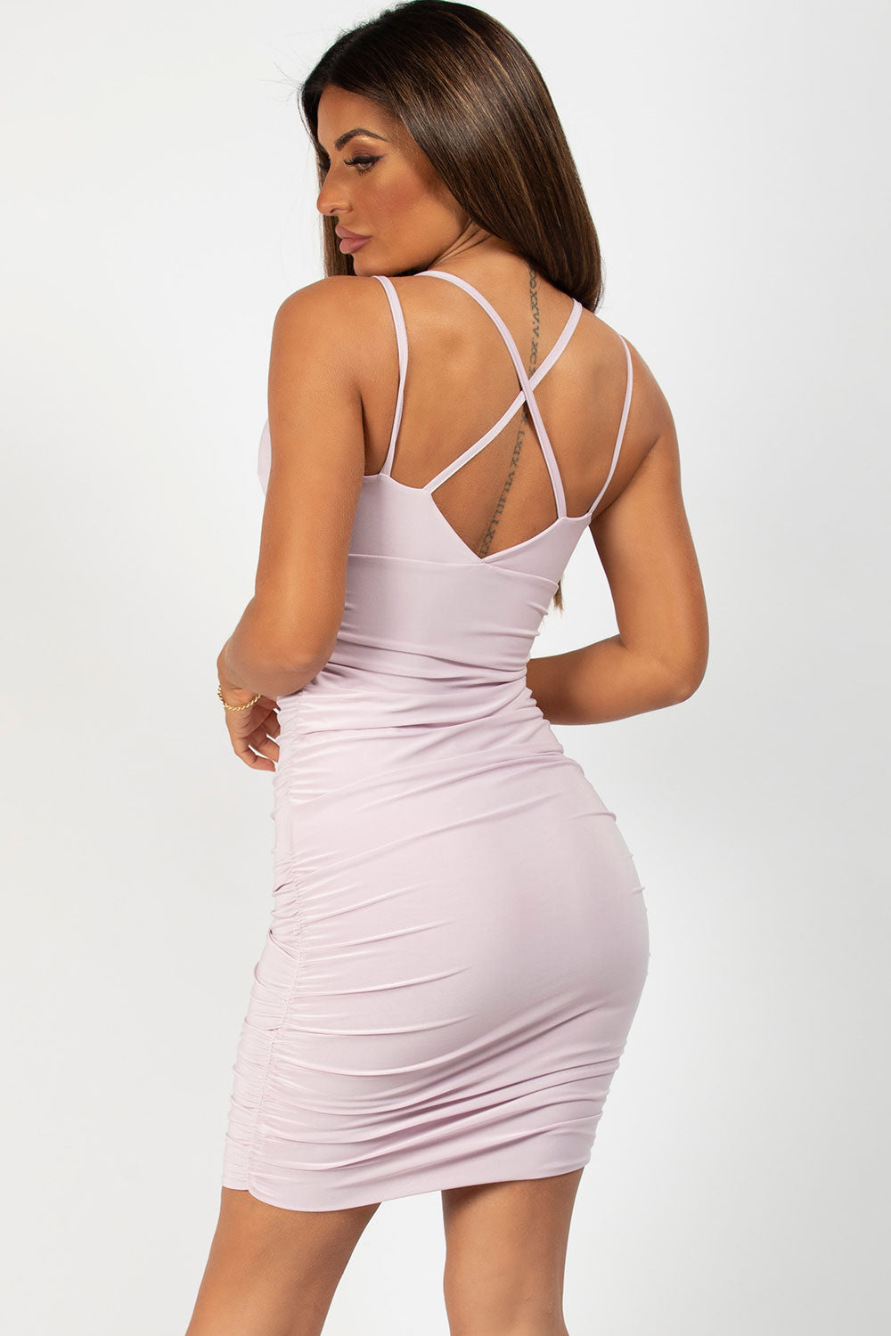 Lilac Ruched Side Strappy Bodycon Dress