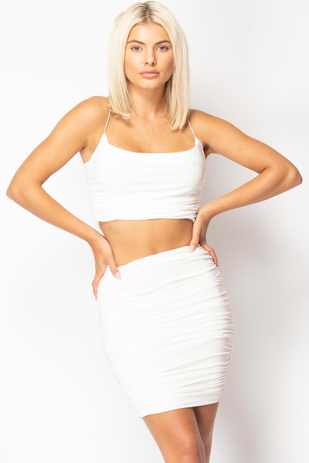 ruched skirt and top set cream
