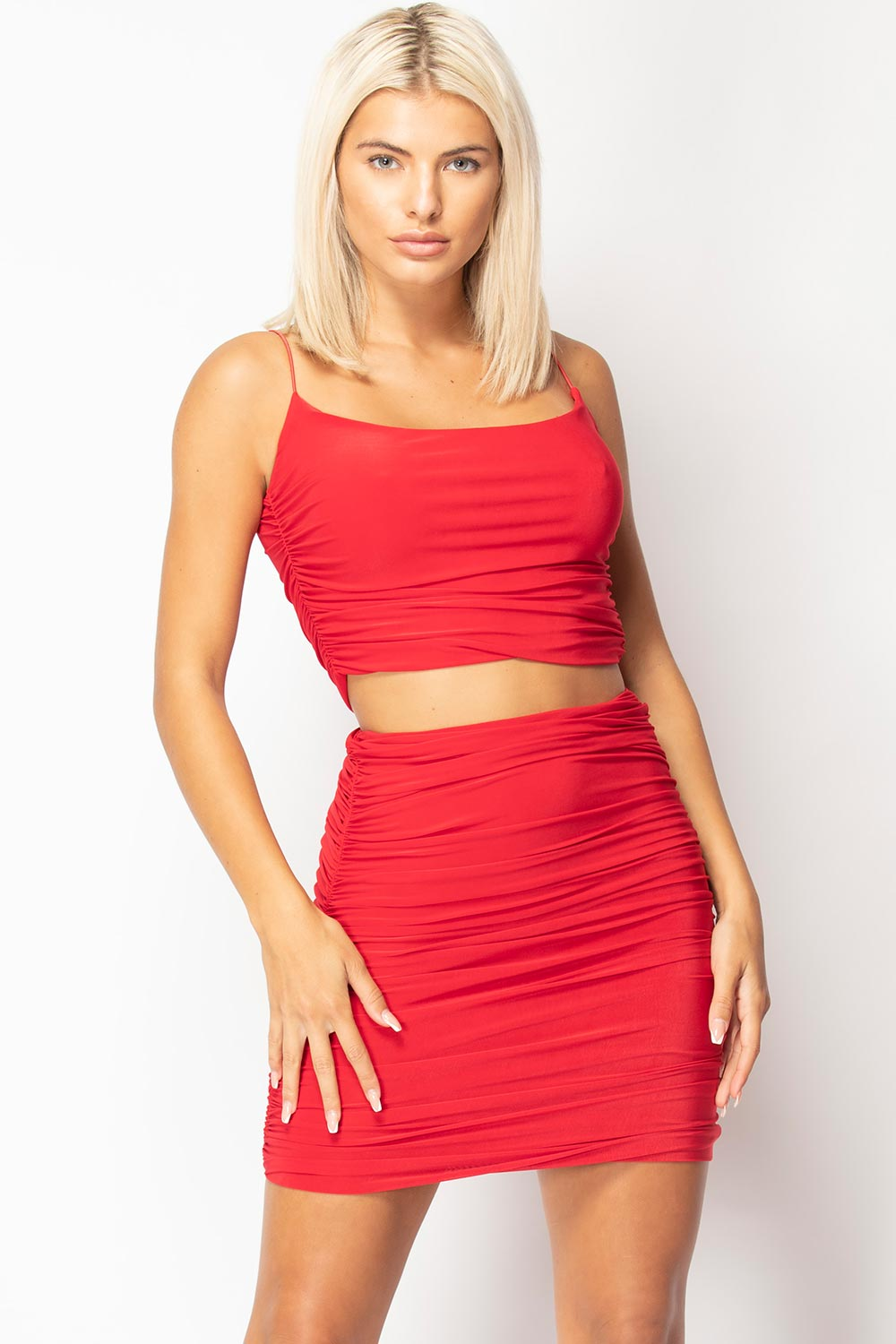 red skirt and crop top set