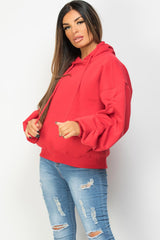 oversized balloon sleeve hoodie red womens
