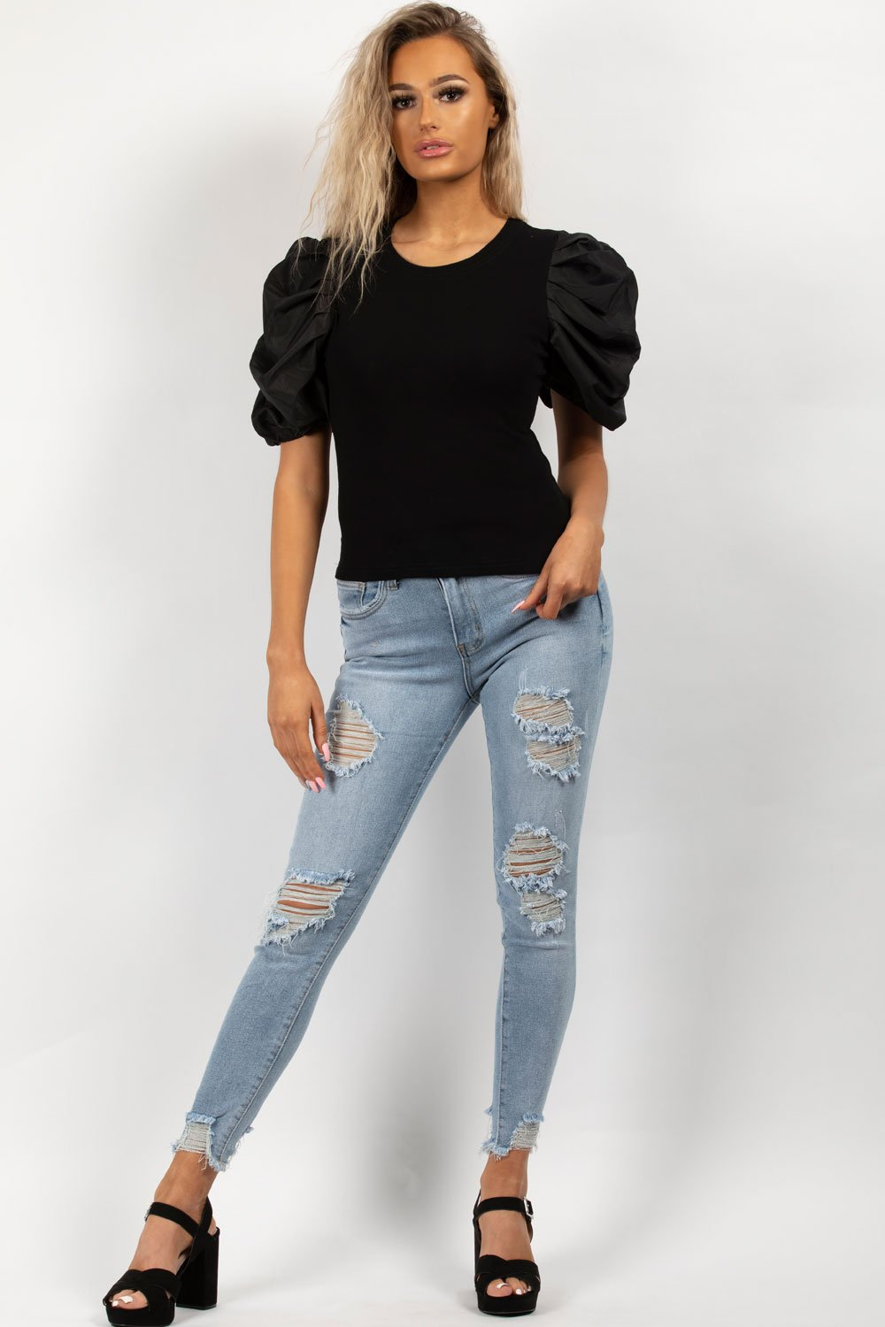 black satin ruched sleeve top