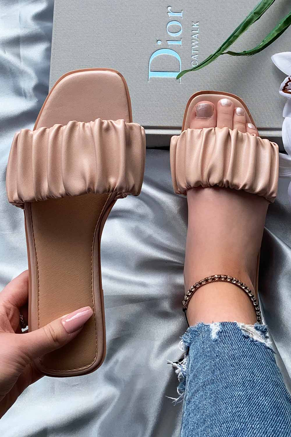 ruched strap sliders flat sandals